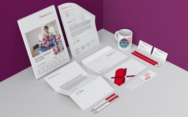 NIM Corporate Design Geschäftsausstattung Briefbogen, Karte, Umschlag, Visitenkarte