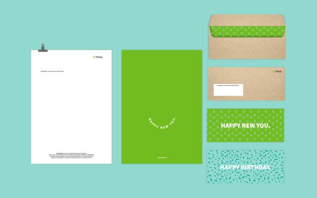 Fitvia Corporate Design Briefpapier und Grußkarte