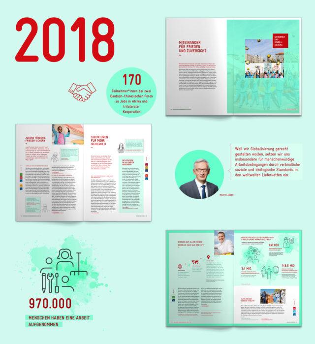 GIZ Unternehmensbericht 2018 Übersicht und Icons