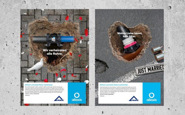 Aliaxis Kommunikation Hochzeitskampagne Anzeigen